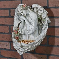 Angel Bird Feeder Wall Plaque Gray