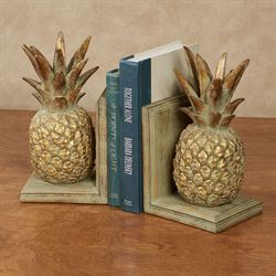 Pineapple Bookends Antique Gold Pair