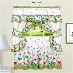 Butterfly Caper Semi Sheer Tier and Valance Set White