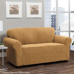 Helix Stretch Slipcover Camel Wing Chair