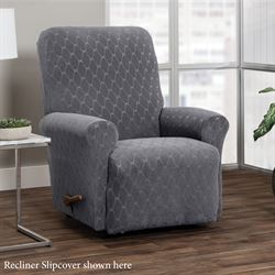 Helix Stretch Slipcover Dark Gray Wing Chair