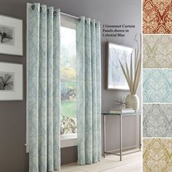 Lincoln Damask Grommet Curtain Panel