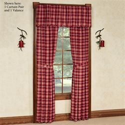 Braxton Cabin Tailored Curtain Pair Dark Red 80 x 84