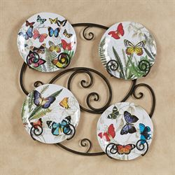 Papillon Butterfly Accent Plates Multi Bright Set of Four