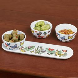 Papillon Butterfly Condiment Set Multi Bright Set of Four