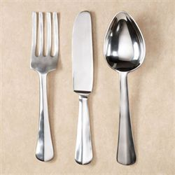 Giant Utensils Wall Hanging Set Satin Silver Set of Three