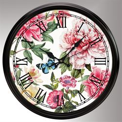 Peony Floral Wall Clock Pink