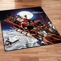 Santas Big Night Rectangle Rug Midnight