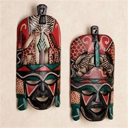 Tribal Decorative Wall Mask Set Multi Jewel Set of Two