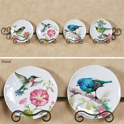 Bird Song Accent Plates Multi Bright Set of Four