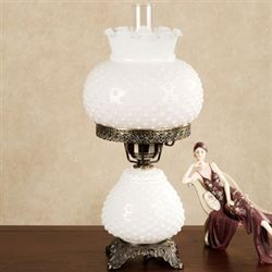 Paige White Hobnail Table Lamp Each with CFL Bulb