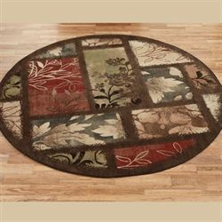 Leaf Landscapes Round Rug Multi Warm 78 Round