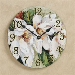 Magnolia Floral Wall Clock Green