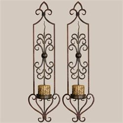 Privos Wall Sconce Pair with Candles Rustic Brown Pair