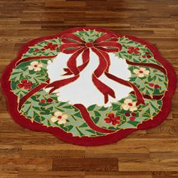 Happy Holly Round Rug Red