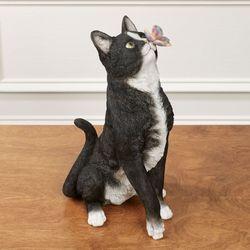 Intrigued Cat Sculpture Black