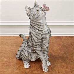 Intrigued Cat Sculpture Gray