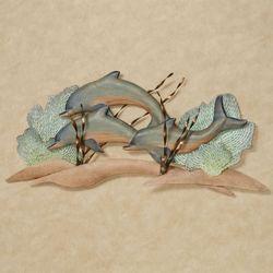 Dolphin Trio in Reef Wall Art Sculpture Seafoam