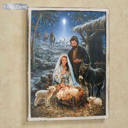 A Savior Is Born Lighted Framed Canvas Wall Art Blue