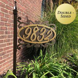 Shepherd Scroll Yard Address Post Gold/Bronze