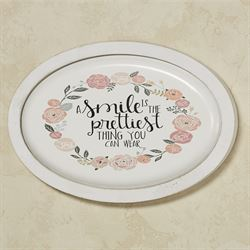 A Smile Oval Wall Plaque White