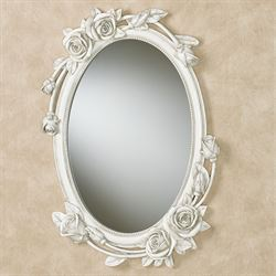 Rose Melody Oval Wall Mirror Antique White