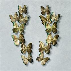Butterfly Spray Stainless Steel Wall Art Gold Set of Two