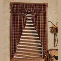 Ninepatch Plaid Prairie Curtain Pair Multi Warm 72 x 63