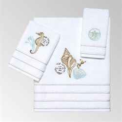 Farmhouse Shell Bath Towel Set White Bath Hand Fingertip