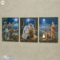 Rejoice Our Savior Is Born Lighted Canvas Triptych Blue Set of Three