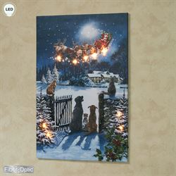 Dogs and Cats Watching Santa Lighted Canvas Wall Art Multi Warm