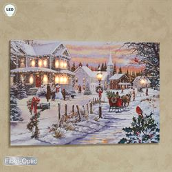 Bringing Home the Tree Lighted Canvas Wall Art Multi Warm