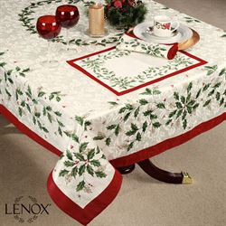 Lenox Holiday Holly Oblong Tablecloth Ivory