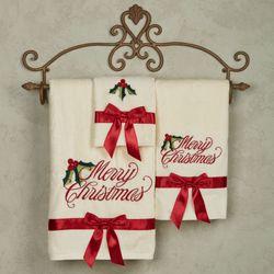 Holiday Ribbon Embroidered Bath Towel Set Light Cream Bath Hand Fingertip