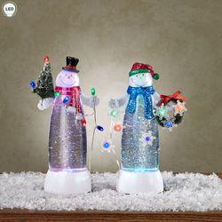 Glitter Swirl Lighted Snowmen Figurines Clear Set of Two