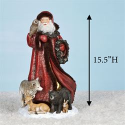 Santa with Woodland Friends Table Sculpture Red