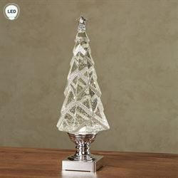 Swirling LED Lighted Christmas Tree Table Accent Silver