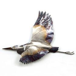 Flying Blue Heron Wall Sculpture Multi Metallic