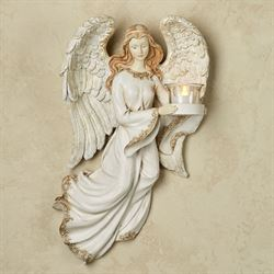 Angel Guardian Tealight Holder Wall Accent Antique Ivory