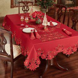 Christmas Poinsettia Cutwork Tablecloth Red