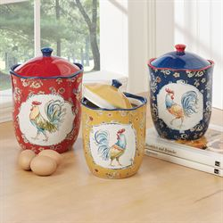 Morning Bloom Rooster Kitchen Canisters Multi Jewel Set of Three
