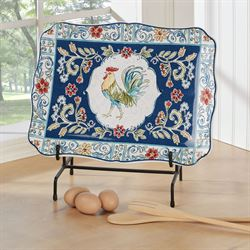 Morning Bloom Rooster Rectangle Serving Platter Multi Jewel