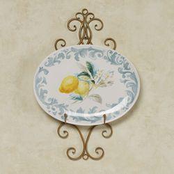 Citron Lemons Oval Serving Platter Yellow