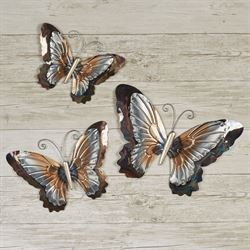 Butterfly Shimmer Wall Art Multi Metallic Set of Three