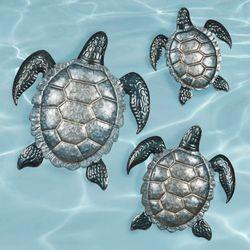 Tranquil Sea Turtle Wall Art Set Gray Set of Three