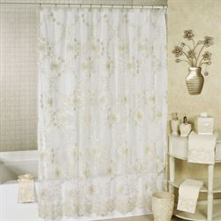Victoria Sheer Embroidered Shower Curtain Champagne 70 x 72