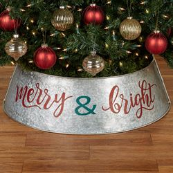 Merry and Bright Christmas Tree Collar Silver
