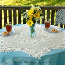 Graceful Rose Lace Table Topper