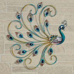 Noble Peacock Wall Art Multi Jewel