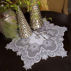 Snowflake Gathering Lace Table Topper White 47 x 47